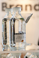 Vodka Karlsson from the Bjare peninsula in bottles that looks like medicine. At the Vinordic wine trade show. Stockholm. Sweden, Europe.