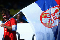 Serbia fans in the stands before the game against Ghana
