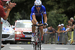 Sylvain Chavanel (FRA) Quick-Step in action during Stage 19 of the 2010 Tour de France an individual time trial running 52km from Bordeaux to Pauillac, France. 24th July 2010.<br /> (Photo by Eoin Clarke/NEWSFILE).<br /> All photos usage must carry mandatory copyright credit (© NEWSFILE | Eoin Clarke)