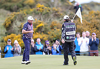 Saturday 30th May 2015; Graeme McDowell, Northern Ireland, shows his relief as he sinks a long par putt on the 11th green<br /> <br /> Dubai Duty Free Irish Open Golf Championship 2015, Round 3 County Down Golf Club, Co. Down. Picture credit: John Dickson / SPORTSFILE