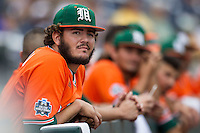 Miami Hurricanes pitcher Michael Mediavilla (18) before Game 5 of the NCAA College World Series against the UC Santa Barbara Gauchos  on June 20, 2016 at TD Ameritrade Park in Omaha, Nebraska. UC Santa Barbara defeated Miami  5-3. (Andrew Woolley/Four Seam Images)