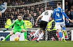 Ayr United v St Johnstone…..08.02.20   Somerset Park   Scottish Cup 5th Round<br />Zander Clark is beaten by Aaron Drinan to give Ayr the lead<br />Picture by Graeme Hart.<br />Copyright Perthshire Picture Agency<br />Tel: 01738 623350  Mobile: 07990 594431
