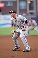 Greenville Drive first baseman Nick Longhi (21) on defense against the Greensboro Grasshoppers at NewBridge Bank Park on August 17, 2015 in Greensboro, North Carolina.  The Drive defeated the Grasshoppers 5-4 in 13 innings.  (Brian Westerholt/Four Seam Images)