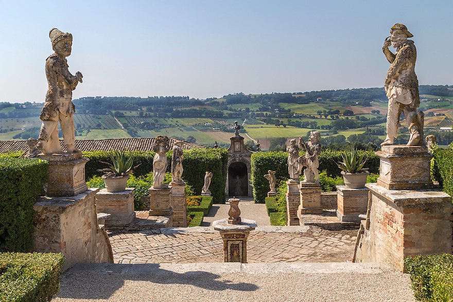 Beautiful 18th century Italian garden surrounded by mythological statues, sculptures, fountains and obelisks.