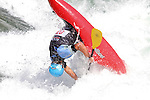 11.07.2014 Sort, Spain. ICF Freestyle World Cup, junior K1, Picture show Mikel Puldain (ESP) in acton during semi-finals
