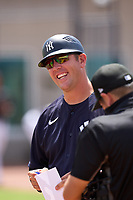 FCL Yankees manager Tyson Blaser (50) during the lineup exchange before a game against the FCL Blue Jays on June 29, 2021 at the Yankees Minor League Complex in Tampa, Florida.  (Mike Janes/Four Seam Images)