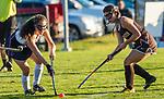 WASHINGTON, CT-111020JS07 —Shepaug's Brianna Laskowski (14) and Thomaston's Arianna Komanaj (2) battle for the ball during their field hockey game Tuesday at Shapaug High School. <br /> Jim Shannon Republican-American