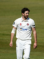 15th April 2021; Emirates Old Trafford, Manchester, Lancashire, England; English County Cricket, Lancashire versus Northants;  Ben Sanderson of Northamptonshire between overs