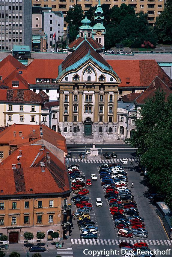 Blick von Burg, Ursulinenkirche, Lubljana, Slowenien