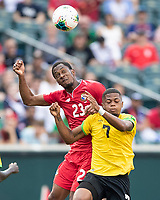 PHILADELPHIA, PA - JUNE 30: Michael Murillo #23 and Leon Bailey #7 go up for a header during a game between Panama and Jamaica at Lincoln Financial Field on June 30, 2019 in Philadelphia, Pennsylvania.