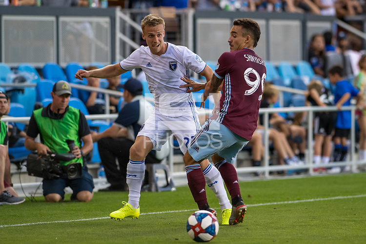 SAN JOSÉ CA - JULY 27: Tommy Thompson #22 and Andre Shinyashiki #99 during a Major League Soccer (MLS) match between the San Jose Earthquakes and the Colorado Rapids on July 27, 2019 at Avaya Stadium in San José, California.