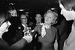 Margaret Thatcher campaigning for the 1979 General Election in Northampton.  Meeting local Conservative Association members. In background Northampton South tory MP Michael Morris who is now Baron Naseby of Sandy.