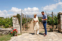 Pictured: The Duchess of Cornwall is shown around Lyraraki Winemakers in ALagni, Crete, Greece. Friday 11 May 2018 <br /> Re: Duchess of Cornwall visits Lyraraki Winemakers on the island of Crete, Greece.