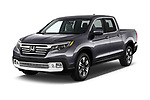 2019 Honda Ridgeline RTL-T 4 Door Pick Up angular front stock photos of front three quarter view