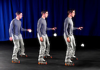 INDEPENDENCE OF HORIZONTAL & VERTICAL MOTION<br /> Skater At Constant Velocity Drops A Ball<br /> As an instance of projectile motion, a ball is dropped by someone moving at a constant velocity.  The ball follows a curved path that combines horizontal and vertical motions and the vertical acceleration (gravity) does not affect horizontal velocity.