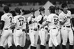 Japan Team celebrating after winning India during the BFA Women's Baseball Asian Cup match between Japan and India at Sai Tso Wan Recreation Ground on September 6, 2017 in Hong Kong. Photo by Marcio Rodrigo Machado / Power Sport Images<br /> <br /> <br /> (EDITOR NOTE...BLACK AND WHITE CHANGED BY LIGHTROOM)