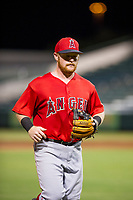AZL Angels second baseman Zane Gurwitz (8) jogs off the field between innings of the game against the AZL White Sox on August 14, 2017 at Diablo Stadium in Tempe, Arizona. AZL Angels defeated the AZL White Sox 3-2. (Zachary Lucy/Four Seam Images)