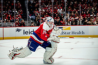 WASHINGTON, DC - JANUARY 31: Braden Holtby #70 of the Washington Capitals  gets off the ice for an extra attacker with two minutes left in the game during a game between New York Islanders and Washington Capitals at Capital One Arena on January 31, 2020 in Washington, DC.