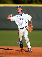 IMG Academy Ascenders shortstop Mitchell Gallagher (15) during a game against the Arlington Country Day Apaches at IMG Academy on March 5, 2013 in Bradenton, Florida.  (Mike Janes/Four Seam Images)