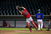 AZL Angels catcher Manuel Herazo (7) catches a pop fly against the AZL Cubs on August 31, 2017 at Sloan Park in Mesa, Arizona. AZL Cubs defeated the AZL Angels 9-2. (Zachary Lucy/Four Seam Images)