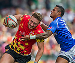Samoa vs Belgium during the HSBC Sevens Wold Series match of the Cathay Pacific / HSBC Hong Kong Sevens at the Hong Kong Stadium on 28 March 2015 in Hong Kong, China. Photo by Juan Manuel Serrano / Power Sport Images