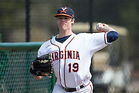 Virginia Cavaliers starting pitcher Nathan Kirby (19) warms up in the bullpen prior to the game against the Hartford Hawks at The Ripken Experience on February 27, 2015 in Myrtle Beach, South Carolina.  The Cavaliers defeated the Hawks 5-1.  (Brian Westerholt/Four Seam Images)