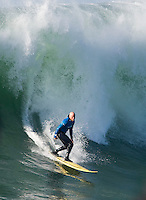 Tyler Smith surfs during the final heat of the 2008 Mavericks Surf Contest in Half Moon Bay, Calif., Saturday, January 12, 2008.