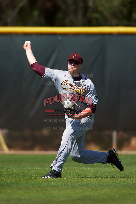 Central Michigan Chippewas left fielder Daniel Jipping (16) during practice before a game against the Boston College Eagles on March 3, 2017 at North Charlotte Regional Park in Port Charlotte, Florida.  Boston College defeated Central Michigan 5-4.  (Mike Janes/Four Seam Images)
