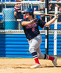 WATERBURY, CT 073021JS11 US9 Prospects Ryan Michonski (6) fouls off a pitch during their Mickey Mantle World Series game with CT Gamecocks Friday at Municipal Stadium in Waterbury. <br />  Jim Shannon Republican American