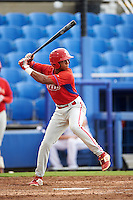 GCL Phillies center fielder Malvin Matos (39) at bat during the first game of a doubleheader against the GCL Blue Jays on August 15, 2016 at Florida Auto Exchange Stadium in Dunedin, Florida.  GCL Phillies defeated the GCL Blue Jays 7-5 in a completion of a game started on July 30th.  (Mike Janes/Four Seam Images)
