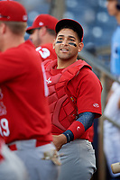 Palm Beach Cardinals catcher Jose Godoy (27) in the dugout during a game against the Charlotte Stone Crabs on April 21, 2018 at Charlotte Sports Park in Port Charlotte, Florida.  Charlotte defeated Palm Beach 5-2.  (Mike Janes/Four Seam Images)