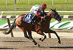 07 04 2010: NY-bred Franny Freud with Garrett Gomez aboard wins the 63rd running of the Grade I Prioress Stakes, 6 furlongs for 3-year old fillies.  Trainer John Terranova, II.  Owner Paul P. Pompa, Jr., Stephen Yarbrough, Winter Park Partners.