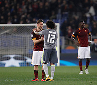 Calcio, andata degli ottavi di finale di Champions League: Roma vs Real Madrid. Roma, stadio Olimpico, 17 febbraio 2016.<br /> Roma's Francesco Totti, left, greets Real Madrid's Marcelo at the end of the first leg round of 16 Champions League football match between Roma and Real Madrid, at Rome's Olympic stadium, 17 February 2016.<br /> UPDATE IMAGES PRESS/Isabella Bonotto