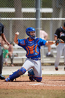 New York Mets catcher Patrick Mazeika (12) during a minor league Spring Training game against the Miami Marlins on March 26, 2017 at the Roger Dean Stadium Complex in Jupiter, Florida.  (Mike Janes/Four Seam Images)