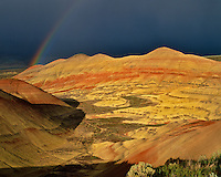 Rainbow over Painted Hills in John Day Fossil Beds National Monument, Oregon