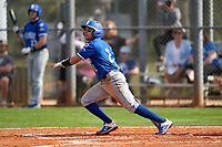 Indiana State Sycamores Josue Urdaneta (2) bats during the teams opening game of the season against the Pitt Panthers on February 19, 2021 at North Charlotte Regional Park in Port Charlotte, Florida.  (Mike Janes/Four Seam Images)