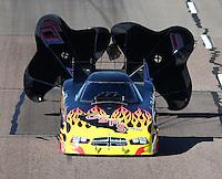 Feb 26, 2016; Chandler, AZ, USA; NHRA funny car driver Jim Campbell during qualifying for the Carquest Nationals at Wild Horse Pass Motorsports Park. Mandatory Credit: Mark J. Rebilas-