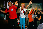 ENGLAND'S WORLD CUP 1998, EXCITED FANS WATCH ENGLAND PLAY COLUMBIA AND WIN 2-0. SPORTS CAFE IN LONDON. 26-6-98, 1998