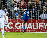HOUSTON, TX - JANUARY 31: Kethna Louis #20 of Haiti prevents a goal during a game between Haiti and Costa Rica at BBVA Stadium on January 31, 2020 in Houston, Texas.