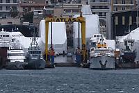 Border Control vessel HMC Valiant (2nd L) by a shipyard in the Perama area of Piraeus, Greece. Thursday 03 January 2019