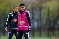 Wednesday  27 April 2016<br /> Pictured:  ( L-R ) Wayne Routledge of Swansea City  and Jefferson Montero of Swansea City during training <br /> Re: Swansea City Training Session at the Fairwood Ground, Swansea, Wales, UK