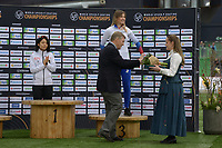 SPEEDSKATING: HAMAR: Vikingskipet, 29-02-2020, ISU World Speed Skating Championships, Sprint, Final Podium, Miho Takagi (JPN), Olga Fatkulina (RUS), Jan Dijkema (President ISU), ©photo Martin de Jong