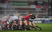 2nd January 2021; Kingsholm Stadium, Gloucester, Gloucestershire, England; English Premiership Rugby, Gloucester versus Sale Sharks; Stephen Varney of Gloucester passes down the line under pressure from Faf de Klerk of Sale Sharks