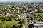Aerial view looking north down N Interstate Ave with the MAX lightrail line in north Portland, Oregon.