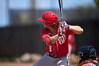Washington Nationals Rhett Wiseman (8) bats during a Minor League Spring Training game against the Houston Astros on April 27, 2021 at FITTEAM Ballpark of the Palm Beaches in Palm Beach, Fla.  (Mike Janes/Four Seam Images)