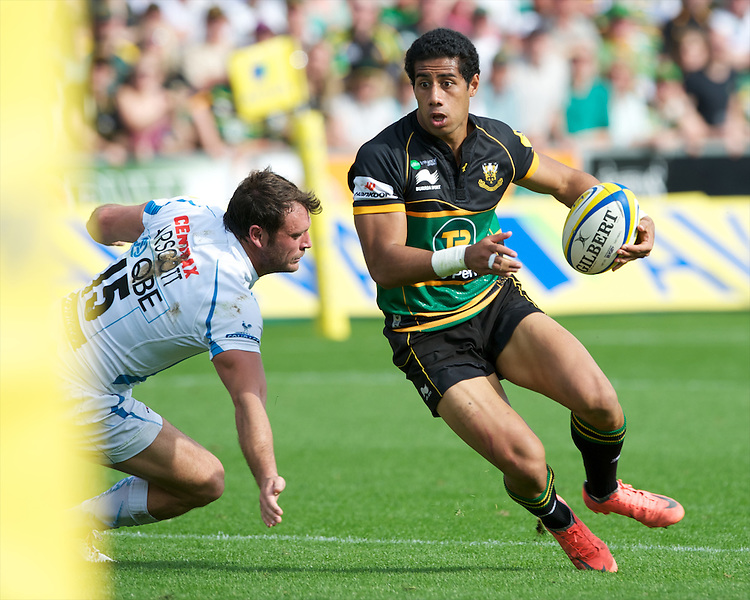 Ken Pisi of Northampton Saints sidesteps Luke Arscott of Exeter Chiefs during the Aviva Premiership match between Northampton Saints and Exeter Chiefs at Franklin's Gardens on Sunday 9th September 2012 (Photo by Rob Munro)