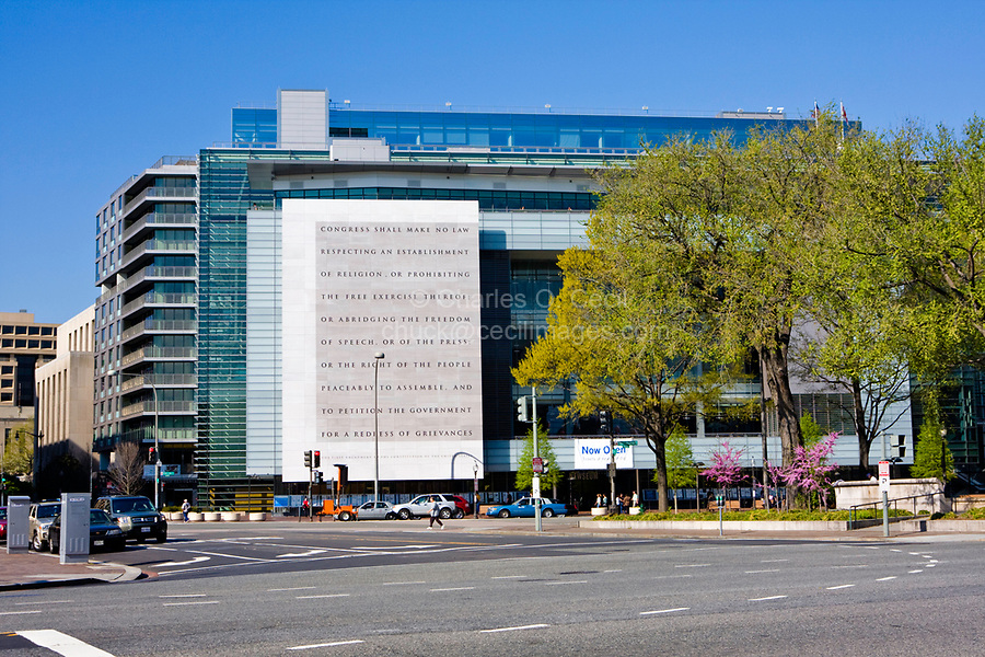 Washington, D.C., USA, North America. The Newseum, Washington's  Museum dedicated to honoring the information media and freedom of the press.  The first amendment to the U.S. constitution is engraved on the wall to the left of the entrance.  Museum opened April 11, 2008. Closed December 31, 2019 due to lack of funding.