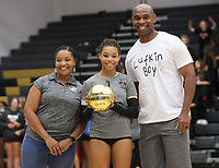 Trinity Hamilton (3) received golden ball award for 1,000 kills.  She picked up one last year for 1,00 digs on Thursday, Oct.  7, 2021, during play at Tiger Arena in Bentonville. Visit nwaonline.com/211008Daily/ for today's photo gallery.<br /> (Special to the NWA Democrat-Gazette/David Beach)