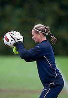 USWNT goalkeeper Ashlyn Harris catches a ball during practice in Chester, PA.  The USWNT will take on China, in an international friendly at PPL Park, on October 6.