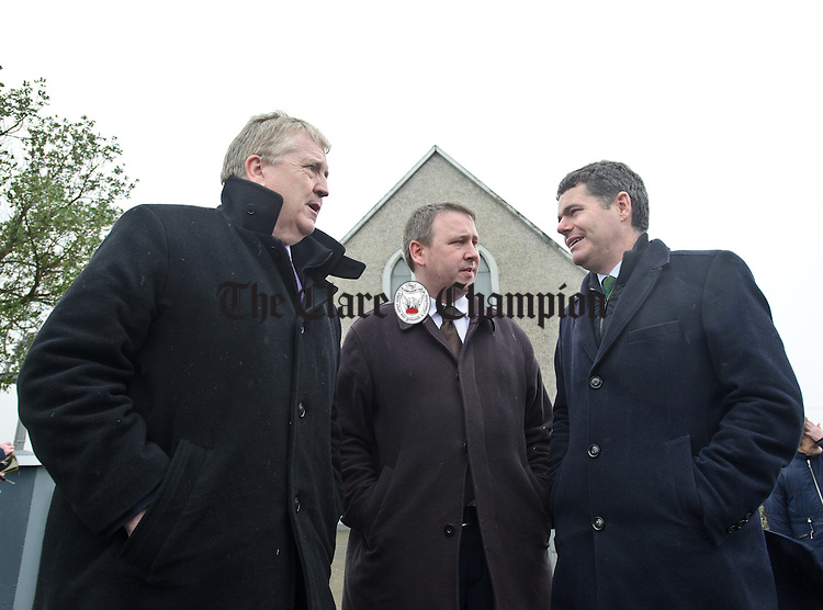 Pat Breen, TD, Joe Carey, TD and Tourism Minister Paschal Donohoe,TD charring outside Kilbaha Church during the visit of the Taoiseach to Loop Head to launch the Fine Gael tourism initiative. Photograph by John Kelly.